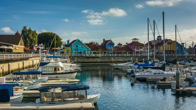 Marina and buildings in Long Beach, California.