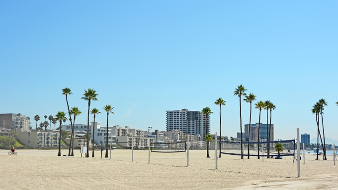 Panoramic view of Long beach in CA, USA.