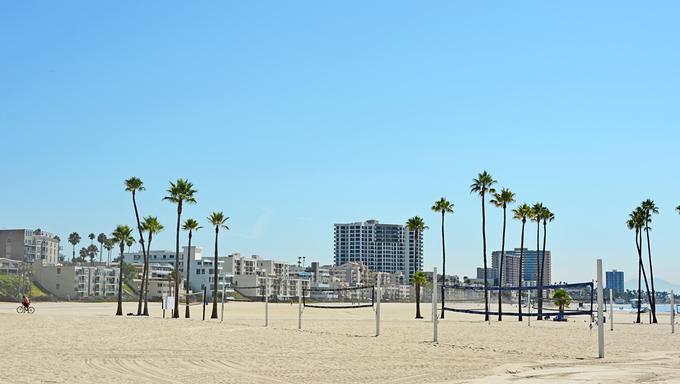 Panoramic view of Long beach in CA, USA.