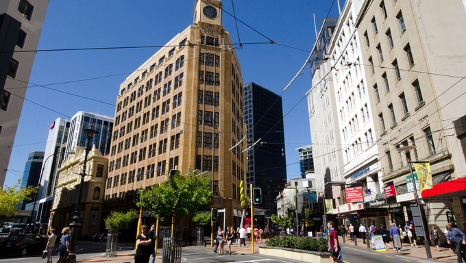 Buildings along Lambton Quay in Wellington, NZ. Wellington is the capital city and second most populous urban area of New Zealand.