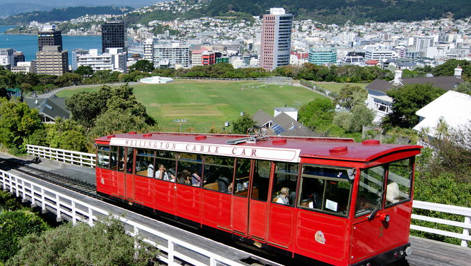 The Red Historic Cable Car, in Wellington, New Zealand. It's rising 120 m over a length of 612 m. It is widely recognised as a symbol of Wellington.