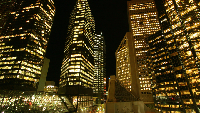 Calgary's skyscrapers lit up at night.