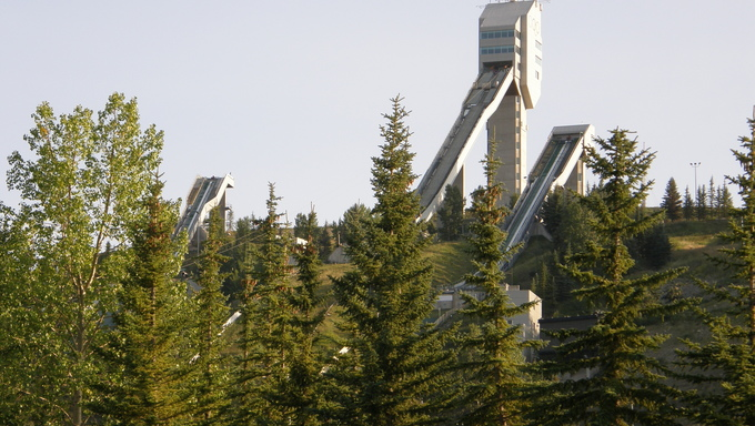 Ski jumps from the Olympics, held there in 1988.
