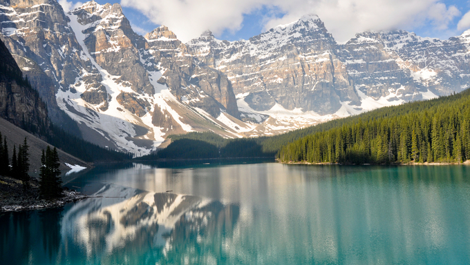 Moraine Lake in the Rocky Mountains of Canada.