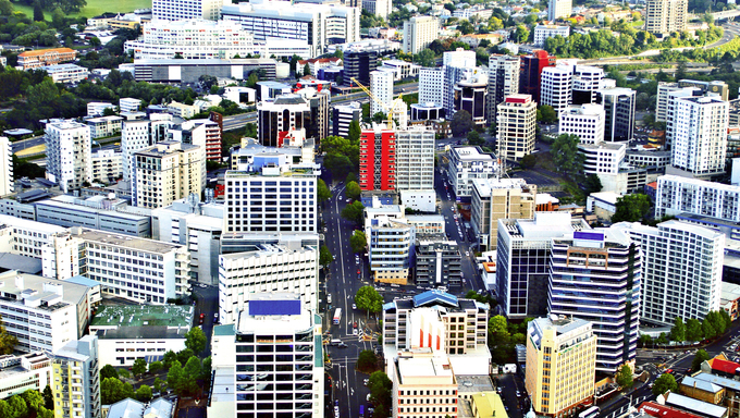 Aerial View of Auckland, New Zealand.
