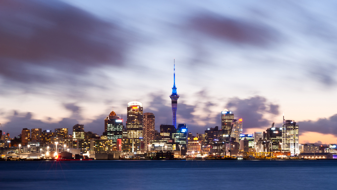 This image shows the Auckland skyline in New Zealand
