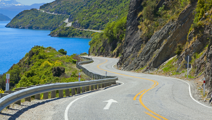 View of lake Wakatipu along the highway towards Queenstown, New Zealand.