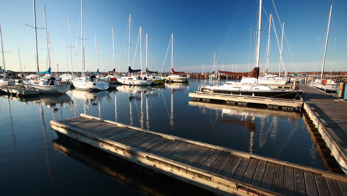morning lighting on Gimli Marina on Lake Winnipeg