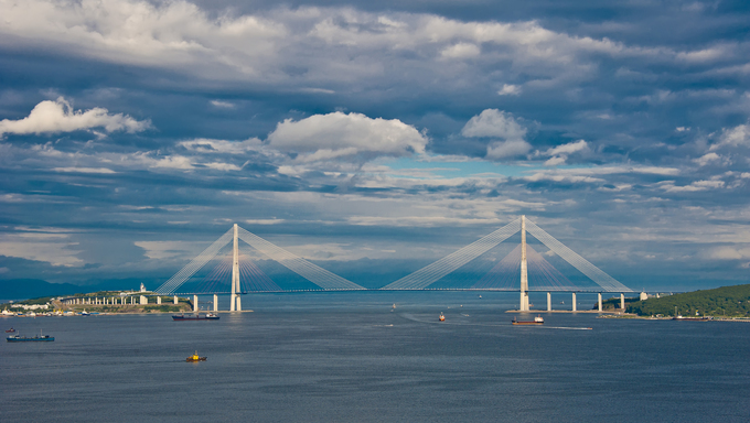 Cable bridge from Vladivostok to Russian Island, Russia, Vladivostok.