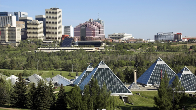 View of a pyramid shaped modern conservatory building in Edmonton.