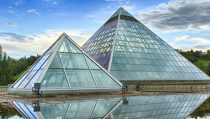 Glass pyramids used as a botanical gardens.