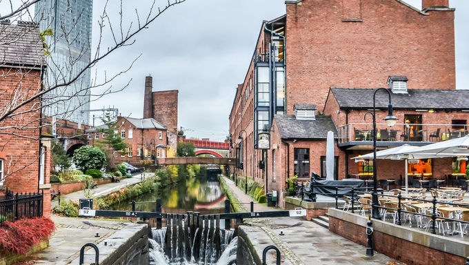 Manchester, canal side scene, England, UK