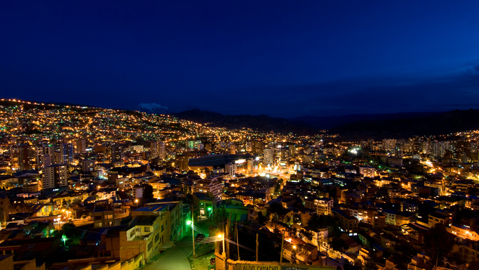 Panorama of La Paz at night.