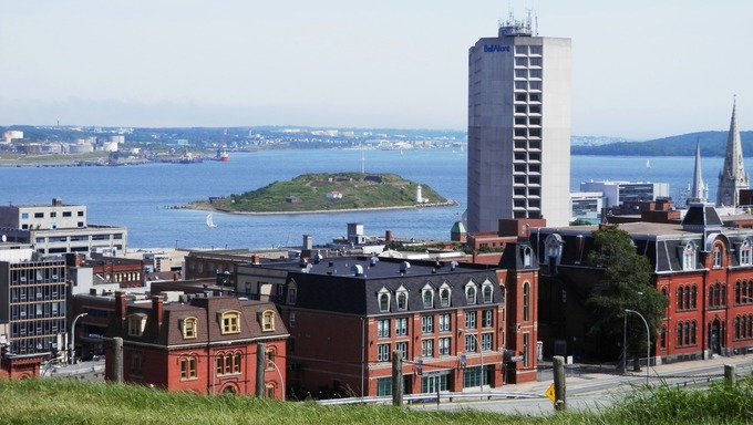 View of Downtown Halifax with George's Island in the background.