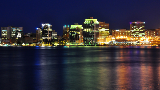 Halifax Nova Scotia at night. Taken from across the harbor in Dartmouth.