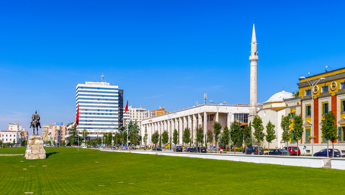 TIRANA, ALBANIA - SEPTEMBER 23, 2013: Skanderbeg Square, the main plaza named in 1968 after the Albanian national hero Skanderbeg, on September 23, 2013, Tirana, Albania,