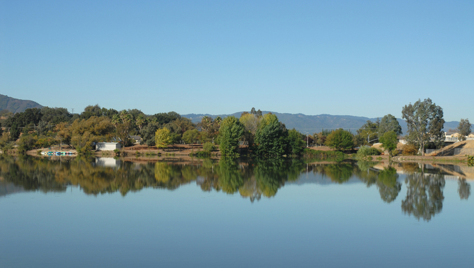 Reflections in Lake Almaden, San Jose, California.