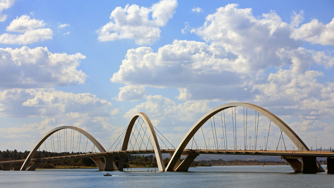 juscelino kubitschek bridge of Brasilia city capital of Brazil   The bridge was designed by Architect Alexandre Chan