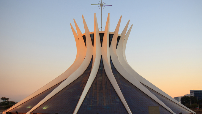 Catedral Metropolitana Nossa Senhora Aparecida - the Roman Catholic cathedral serving Brasília, Brazil, was designed by Oscar Niemeyer