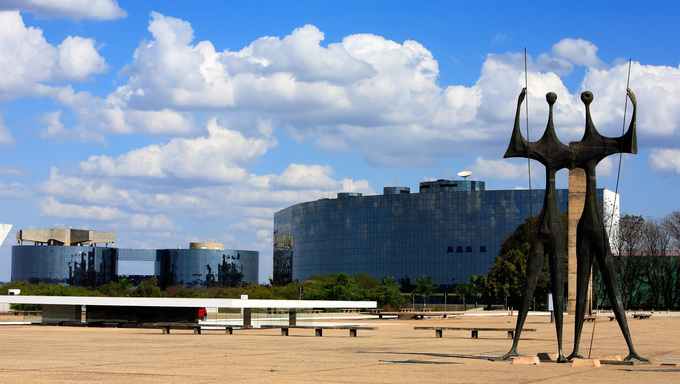 Monument to the builders also call the warriors and the federal district attorney building of Brasilia city capital of Brazil UNESCO World Heritage site on the square of three powers and was design by Bruno Giorgi