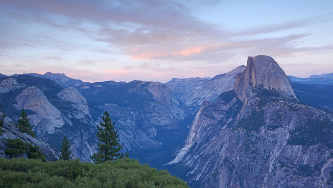 Glacier Point at Yosemite National Park during sunset.