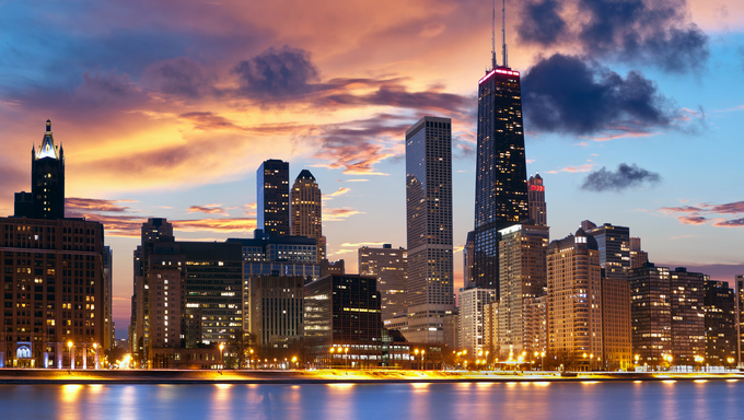 Chicago skyline at dusk.