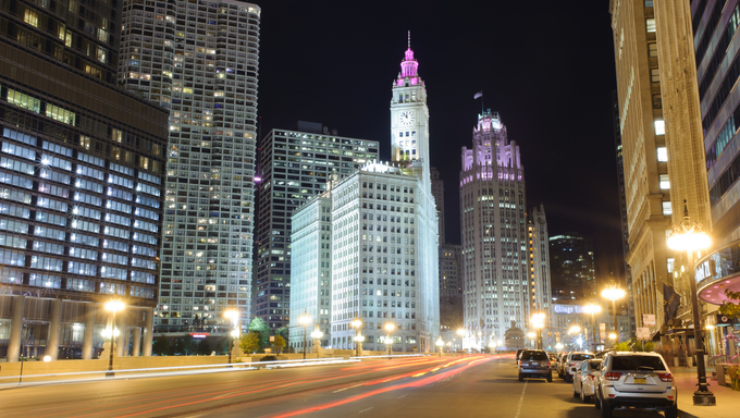 Chicago downtown at night. Chicago is the third most populous city in the United States.