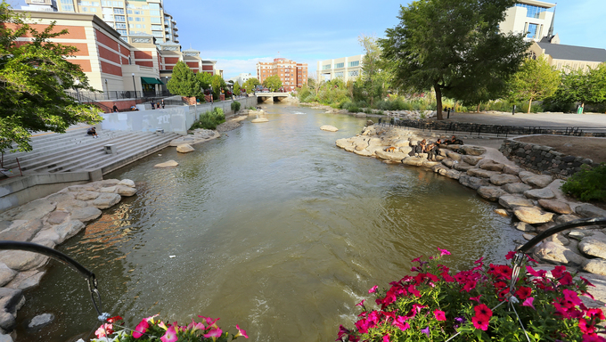 Truckee river in downtown Reno, Nevada, USA.