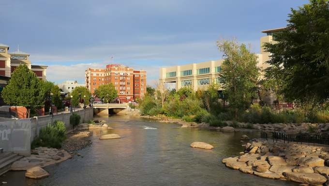 Truckee river in Reno, Nevada, USA.