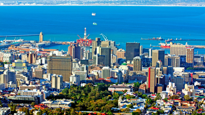 View over Cape Town, South Africa, with the harbor in the background