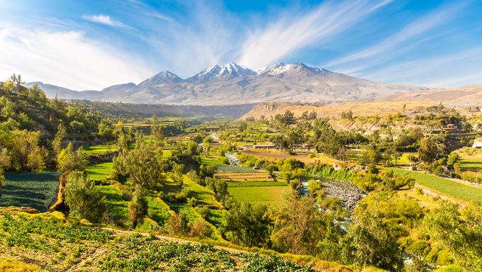 View of the volcano located just outside of Arequipa.