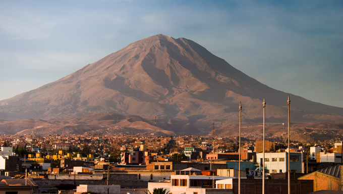 Late afternoon picture of the volcano next to Arequipa, taken from a rooftop.