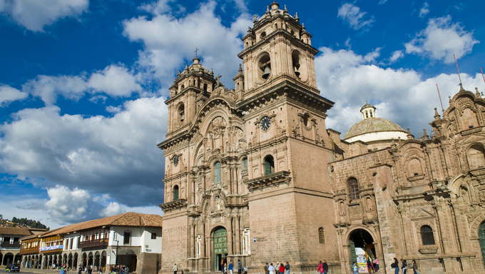 "The cathadral in ""Plaza de armas"" in the center of Cusco, Peru."