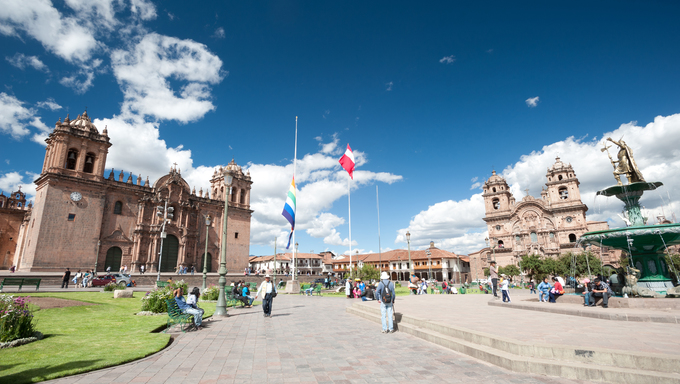 Cusco, Peru city square.
