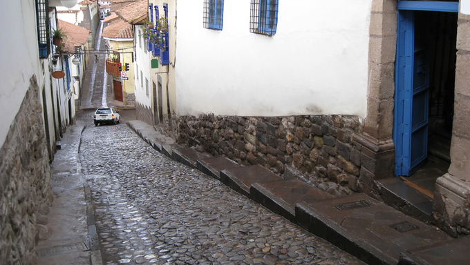 Ancient city of Cusco, Peru in South America. Street in Cusco.