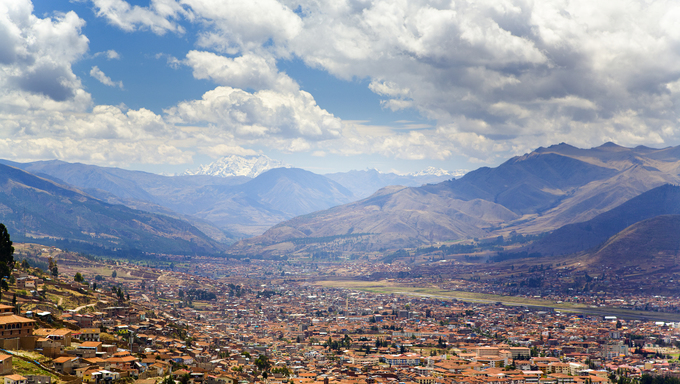 Panoramic view of Cusco, Peru from Sacsayhuaman.