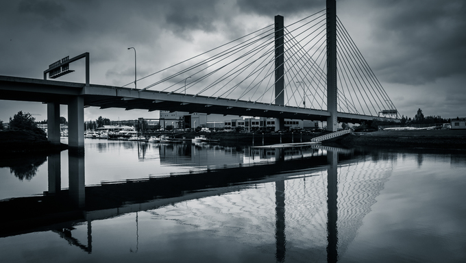 Cable-stayed bridge over the Thea Foss Waterway, in Tacoma, Washington.