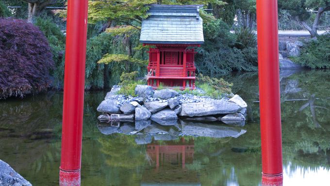 Part of the gate and a shrine at the Japanese Gardens on Point defiance in Tacoma, Washington.