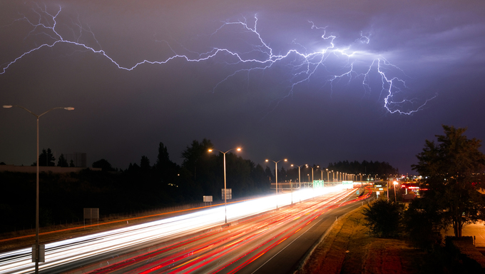 Lightning Bolts light up the sky late at night in Tacoma Washington.