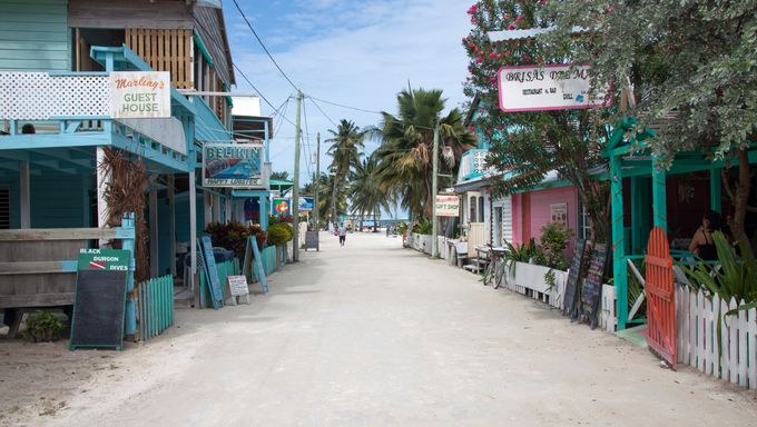 Caye Caulker village located about 20 miles away from Belize City.