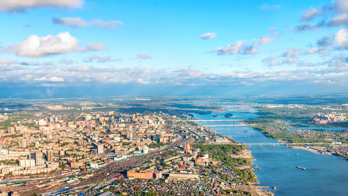 An aerial view of Novosibirsk and the River OB