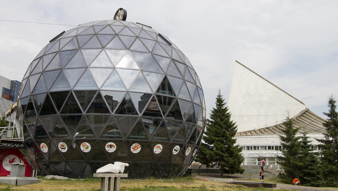 A cafe in the form of a large glass ball.