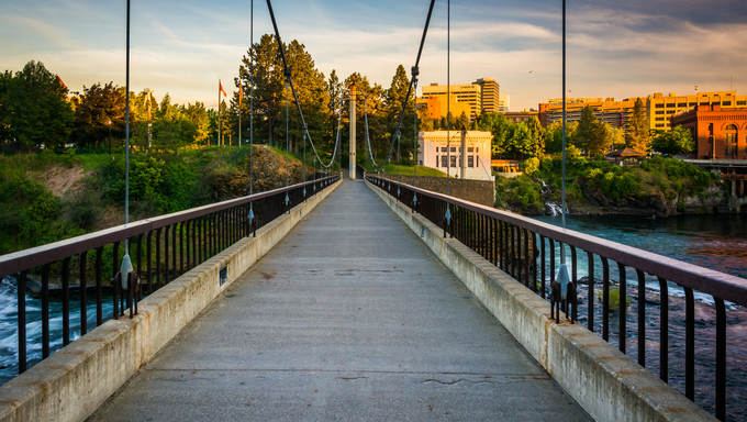Bridge over the Spokane River in downtown Spokane, Washington.