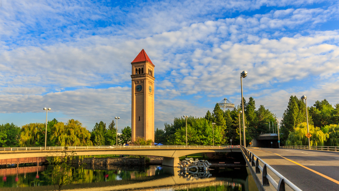 Clock Tower in Riverfront park, Spokane, Washington.