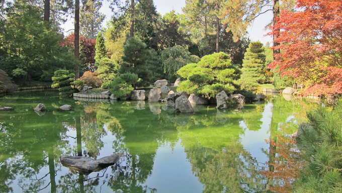 The beautiful Japanese Garden at Manito Park in Spokane, Washington.