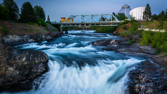 Spokane Falls and the Howard Street Bridge in Spokane, Washington.