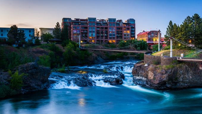 Twilight view of Spokane Falls, in Spokane, Washington.