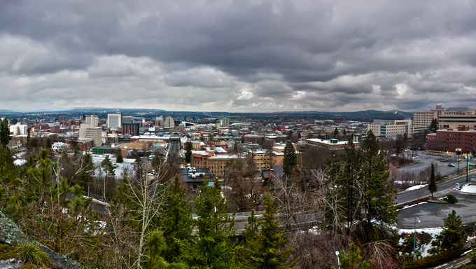 Spokane, Washington skyline panorama on a cloudy day.