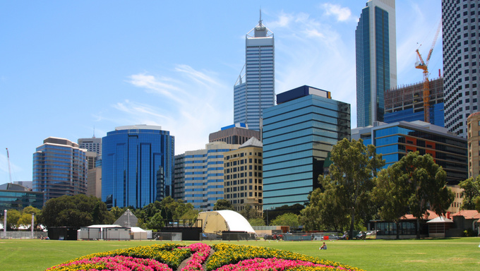 Skyscrapers and office buildings in Perth, Australia. City skyline.