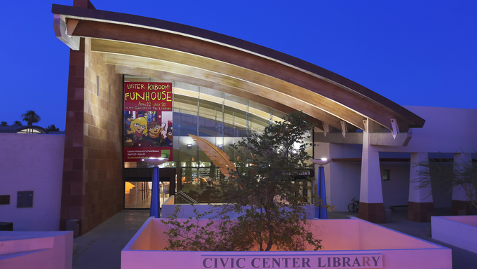 SCOTTSDALE, ARIZONA - JUNE 10: The Scottsdale Civic Center Library on June 10, 2013, in Scottsdale, Arizona. An architectural highlight, the Civic Center Library is the main branch in the Scottsdale Public Library system.